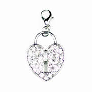 Sparkle Heart Lock Dangle for Floating Memory Locket
