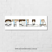 .Star Wars Personalised name plaque canvas for kids wall art - Long Rectangular White Background