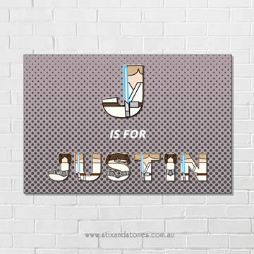 Star Wars Personalised name plaque canvas for kids wall art - Rectangular with Background