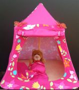 Kids Mini Play Tent Teepee - Bright Pink Design