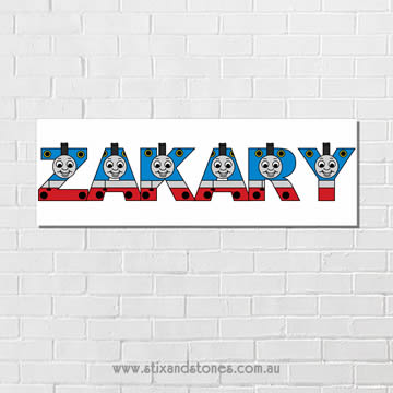 .Thomas the Tank Engine Personalised name plaque canvas for kids wall art - Long Rectangular White Background