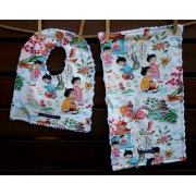Bib and Burp Cloth Set Shown here in China Doll Plush chenille on the back Avail. in over 40 fabric designs