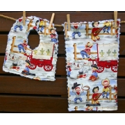 Bib and Burp Cloth Set Shown here in Hokey Pokey Cowboy Plush chenille on the back Avail in over 40 fabric designs
