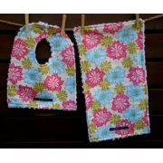 Bib and Burp Cloth Set Shown here in Lei breeze Plush chenille on the back Avail in over 40 fabric designs