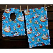 Bib and Burp Cloth Set Shown her in Rocket Rascals Plush chenille on the back Avail. in over 40 fabric designs