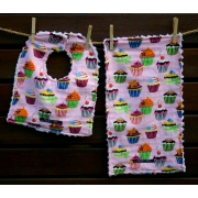 Bib and Burp Cloth Set Shown here in Cupcake Plush chenille on the back Avail. in over 40 fabric designs