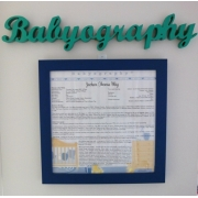 Babyography� Name Plate Hanger Available in over 30 colours Give your Babyography a headline!