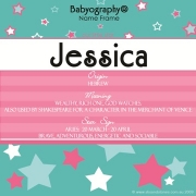 Babyography� Name Frame - Aqua and Pink (19 cm x 19 cm)