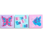 Personalised Kids Name Canvas Wall Art Canvas Artwork Childrens Room Decor - Butterfly Words Inspiration Canvas (Set of 3)