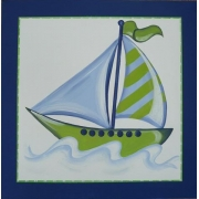 Artwork Childrens Room Decor - Travel Sea - Blue and Green Kids Wall Art Canvas