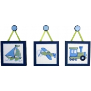 Artwork Childrens Room Decor - Travel Set - Blue and Green Kids Wall Art Canvas (Set of 3)