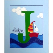 Personalised Kids Name Canvas Wall Art Canvas Name Plaque Handpainted Sailing