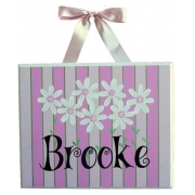 Personalised Name Plaque for kids wall or door Daisies Pink