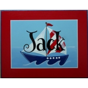 Personalised Name Plaque for kids wall or door Sail Boat - Red