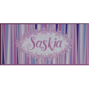 Personalised Name Plaque for kids wall or door  Daisy Chain Pink and Blue