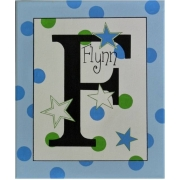 Personalised Kids Name Canvas Wall Art Canvas Name Plaque Handpainted Stars (Green and Blue)