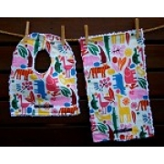 Bib and Burp Cloth Set Shown here in Multi Zoo Plush chenille on the back Avail in over 40 fabric designs