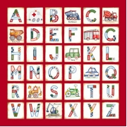 Canvas Alphabet for kids- BOYS Construction