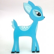 Wooden Block Freestanding deer - blue