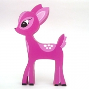 Wooden Block Freestanding deer - pink