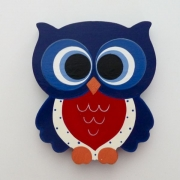 Wooden Block Freestanding feathered owl bright eyes - navy and red