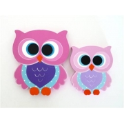Wooden Block Freestanding feathered owl bright eyes - Mum and Bub - pinks/purple/blue