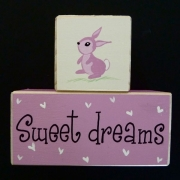 Sweet Dreams/Baby Sleeping Sign - Wooden Blocks bunny (pink)