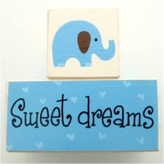 Sweet Dreams/Baby Sleeping Sign - Wooden Blocks elephant (blue)