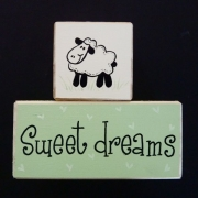 Sweet Dreams/Baby Sleeping Sign - Wooden Blocks lamb (green)