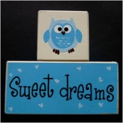 Sweet Dreams/Baby Sleeping Sign - Wooden Blocks Owl (blue)