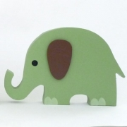 Wooden Block Freestanding elephant - green