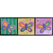 Artwork Childrens Room Decor - Butterfly Set - Yellow, Lime and Pink Kids Wall Art Canvas (Set of 3)