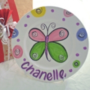 Handpainted Plate - Xmas Butterfly