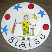 Handpainted Personalised Plate - Anyone for Cricket