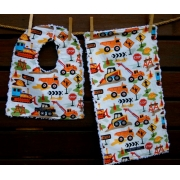 Bib and Burp Cloth Set Shown here in Trucks and Tractors Plush chenille on the back Avail. in over 40 fabric designs