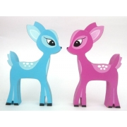 Wooden Block Freestanding deer set of 2 (pink and blue)