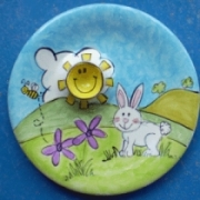 Handpainted Plate - Bunny Egg Cup Plate (can also be personalised)