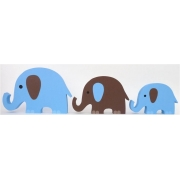 Wooden Block Freestanding elephant set of 3 BLUE/CHOCOLATE (trunks up)