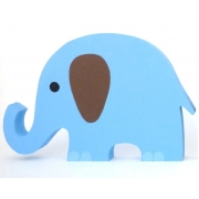 Wooden Block Freestanding elephant - blue