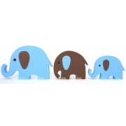 Wooden Block Freestanding elephant set of 3 BLUE/CHOCOLATE (mixed trunks)