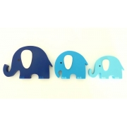 Wooden Block Freestanding elephant set of 3 TRIPLE BLUE (mixed trunks)