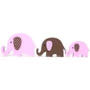 Wooden Block Freestanding elephant set of 3 PINK/CHOCOLATE (trunks up)