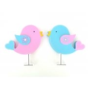 Wooden Block Freestanding lovebird - set of 2 (pink and aqua)