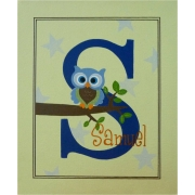Personalised Kids Name Canvas Wall Art Canvas Name Plaque Handpainted Owl (Blue and Green)