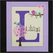 Personalised Kids Name Canvas Wall Art Canvas Name Plaque Handpainted Birdies