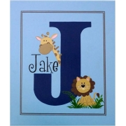 Personalised Kids Name Canvas Wall Art Canvas Name Plaque Handpainted Jungle