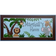 Personalised Name Plaque for kids wall or door Jungle