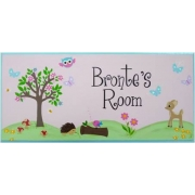 Personalised Name Plaque for kids wall or door Woodlands Friends - Girl
