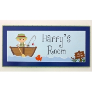 Personalised Name Plaque for kids wall or door Fishing Boy