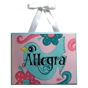 Personalised Name Plaque for kids wall or door Little Birdie Pink and Aqua